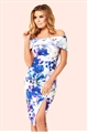 Adiya Floral Print Bardot Wrap Bodycon Dress  from Jess Wright and Sistaglam occasion wear and wedding collection