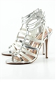 JESSICA WRIGHT ANN SILVER FAUX LEATHER/PU SHOES