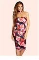 Jessica Wright Arianna Floral Print Bandeau Choker Bodycon Dress
