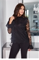 Jessica Wright Luana black lace frilled neckline and frilled sleeves.