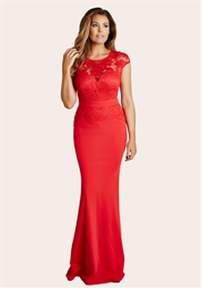 Jessica Wright Blair Red Lace Detail Maxi Dress