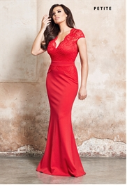 Jessica Wright Carly Red Petite V-neck Bodycon Maxi Dress