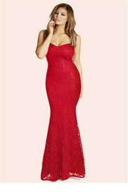 Jessica Wright Michelle Red Bandeau Maxi Dress