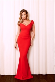 Jessica Wright Camilla Red Ruched Bodycon Maxi Dress