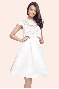Sistaglam Nancy Ivory Overlay Prom Dress
