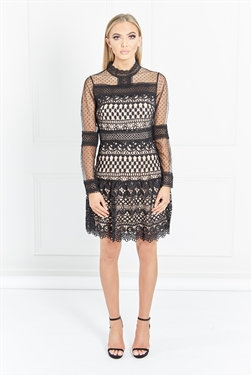 Jessica Wright Silas black and nude dress with black mesh lace drop hem, victorian neckline with a nude lining.