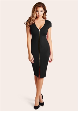 Jessica Wright Kate Black Zip Front Bodycon Dress