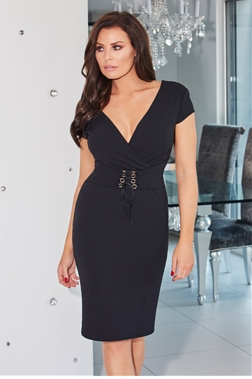Jessica Wright Arieta Black V-neck Bodycon Dress With Corset Waist