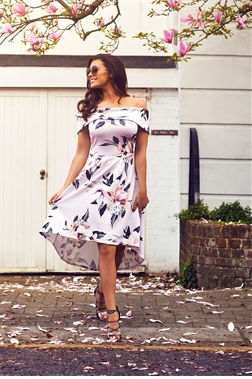 Jessica Wright Heather Multi Floral Dip Hem Skater Dress