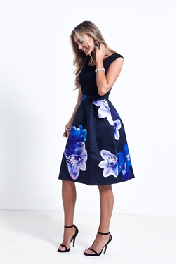 Sistaglam Amia Navy Bardot Floral Print Dress With Black Jersey Top
