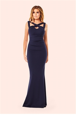 Jessica Wright Krystal Navy Cutout Cross Neck Maxi Dress