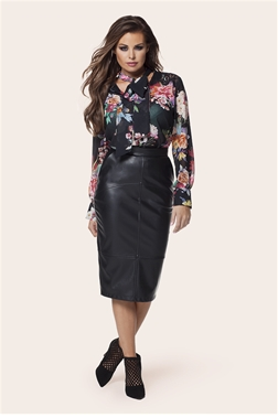 JESSICA WRIGHT LEIGH FAUX LEATHER SKIRT