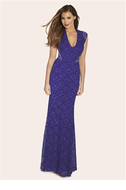 Jessica Wright Celebrity Style Cobalt Blue Sequin Maxi Dress
