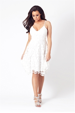Jessica Wright lillia lace dress with mini straps.