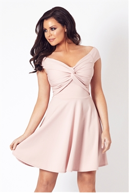 Jessica Wright Thalia Pink Mini Bardot Skater Dress