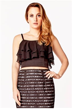 ROSIE BOSTON BLACK DOUBLE LAYERED CHIFFON TOP