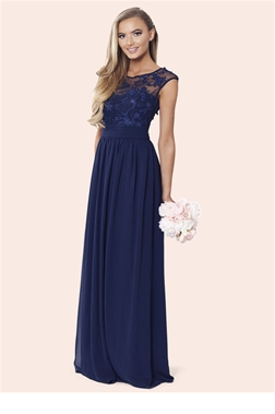 Sistaglam's Loriana navy embroided lace maxi braidsmaid dress from the latest bridal collection