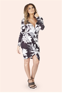 Jessica Wright Rita Monochrome Floral Wrap Dress