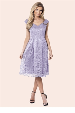 Sistaglam Jadey Lilac Lace Bardot Dress