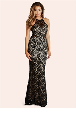 Jessica Wright Sandiya Sequin Lace Racer Front Maxi Dress