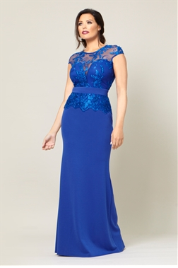 Jessica Wright Avalyn Cobalt lace sleeve maxi dress.