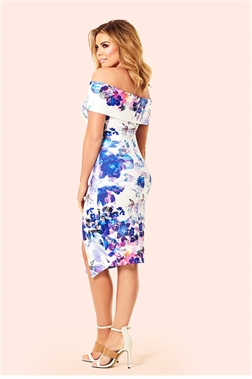 Bardot Dress With Floral Print - Black Jessica Wright