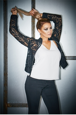 Jessica Wright Jen Black Lace Bomber Jacket