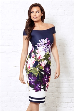 Jessica Wright Navy Floral Pascala Bardot Bodycon Dress