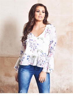 Jessica Wright Binx Multi Floral Print Top With Frilled Sleeves