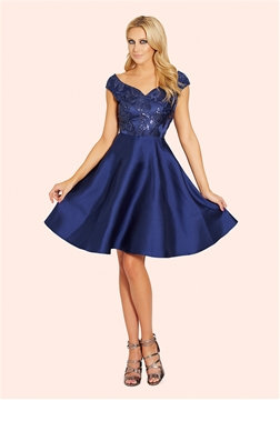 Pearla Navy Embellished Sateen Prom Dress  from Sistaglam's occasion wear and wedding collection