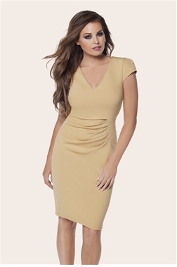 JESS WRIGHT ALIZ CAMEL RUCHED BODYCON DRESS