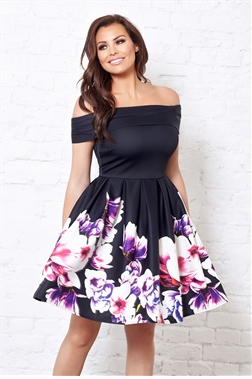 Jessica Wright Gracia multi floral off the shoulder prom dress