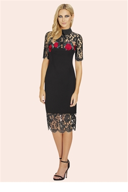 Sistaglam Freya Black Collared Embroidered Trim Bodycon Dress