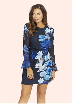 Jessica Wright Blue Floral Print Regina Dress
