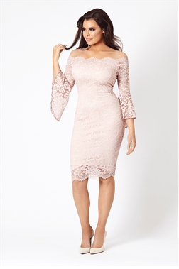 Jessica Wright Kelsea Pink Lace Frill Sleeve Bodycon Dress