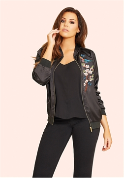 Jessica Wright Marlie Embroidered Black Satin Bomber Jacket