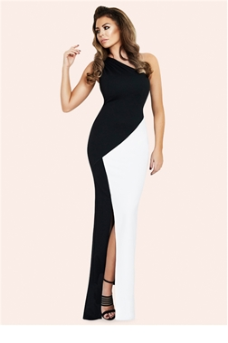 Jessica Wright Candice Monochrome One Shoulder Maxi Dress- currently unavailable
