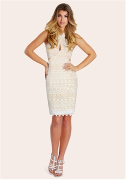 Sistaglam Ferne White Halter Neck Cutout Mini Dress