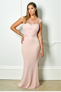 Sistaglam Special Edition Jessica Rose Sadia blush embroided and beaded maxi dress
