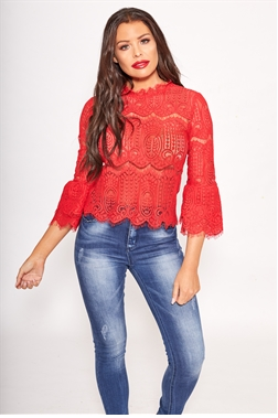 Jessica Wright Anya red corded lace top with frill sleeves