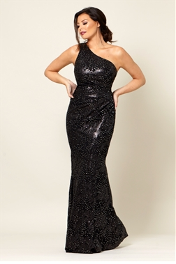 Jessica Wright Tuni Black sequin one shoulder strap maxi dress