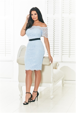 Jessica Wright Lizzey lace frill bardot midi cornflower bodycon bow detail Dress