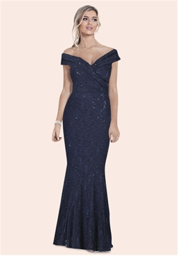 Sistaglam Elizabeth navy bardot sequin maxi dress.