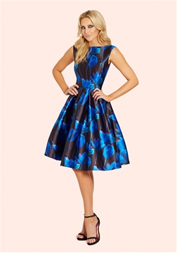 Sistaglam Natalya Blue Floral Sateen Round Neck Midi Prom Dress- currently unavailable