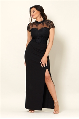 Jessica Wright Amie lace high neck sweet heart neckline with all over black slim fitting maxi dress.