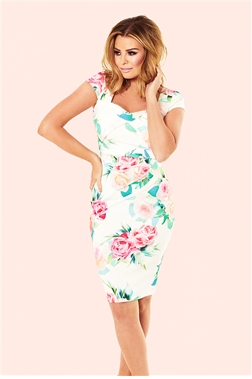 Elsa Floral Square Neck Ruched Bodycon Dress from Jessica Wright and Sistaglam Occasion Wear and Wedding Collection