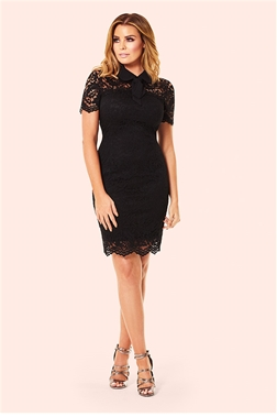Jessica Wright Taylor Black Pussy Bow All Over Lace Dress