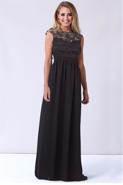 Sistaglam Jakey black lace top and a black chiffon skirt styled maxi dress.