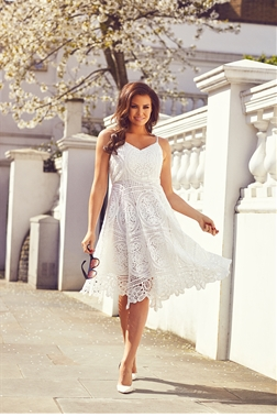 Jessica Wright Lilli White Crochet Spaghetti Strap Prom Dress