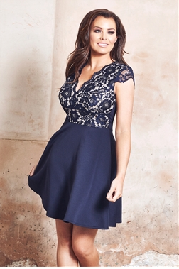 Jessica Wright Langley sleeveles corded lace top skater dress